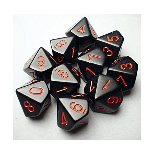Chessex Dice Sets: Opaque Black with Red - Ten Sided Die d10 Set (10) (26218)