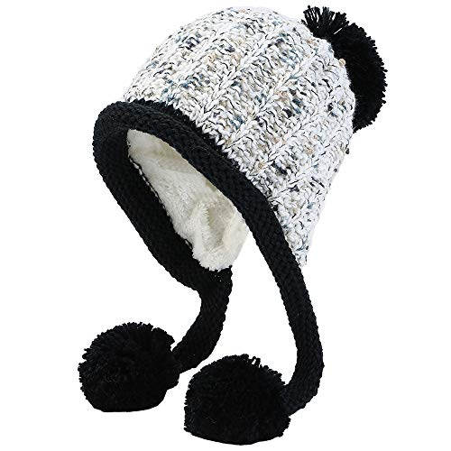 (Xinqiao Women Winter Peruvian Beanie Cable Knitted Ski Earflap Cap Pompon Hat (White))