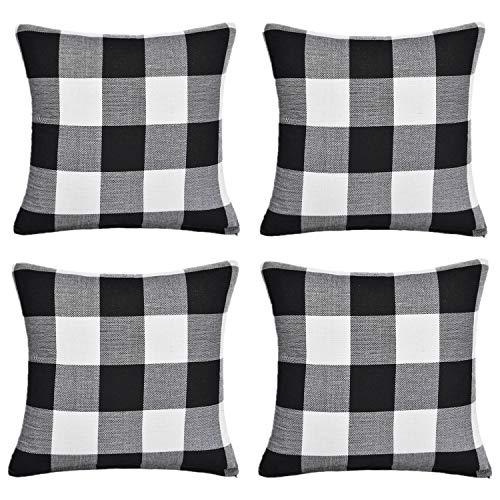 Gysan Black and White Buffalo Checkers Plaids Linen Throw Pillow Covers Cushion Case 18