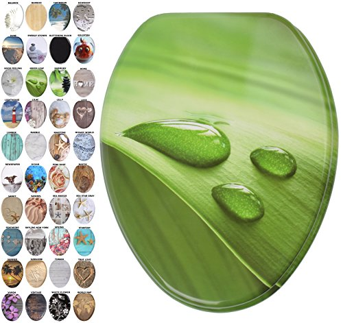 Green Elongated Toilet Seat - Sanilo Elongated Toilet Seat, Wide Choice of Slow Close Toilet Seats, Molded Wood, Strong Hinges (Green Leaf)