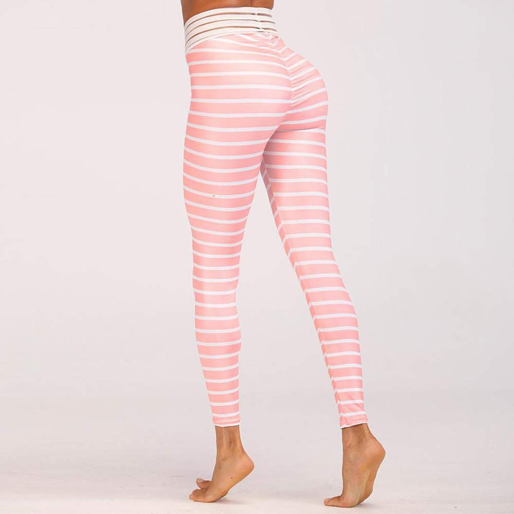 Lmtime Women's Skinny Stripe Workout Leggings Fitness Sports Gym Running Yoga Athletic Pants (M, Pink) by Lmtime (Image #3)