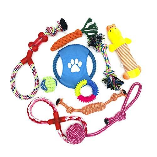 WeFine Juguetes para Perros, Cuerda para Masticar, Durable Juguete para Morder para Perro, Herramientas de Entrenamiento, 100% Algodón – 10 Piezas
