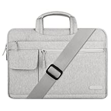 Mosiso Polyester Flapover Style Laptop Messenger Shoulder Bag Case Cover Briefcase for 14-15.6 Inch MacBook Pro 2016, MacBook Pro, Notebook Computer, Gray