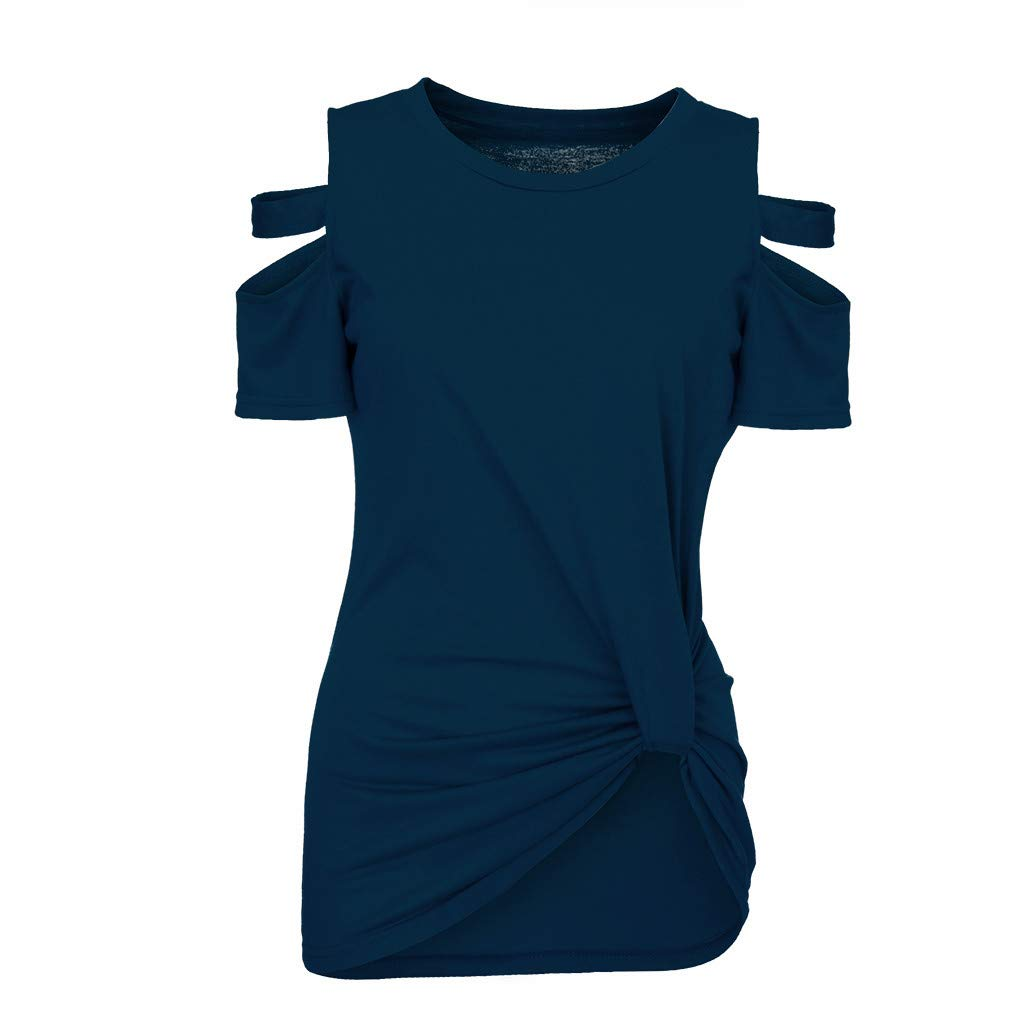 ODGear Womens Short Sleeve O-Neck Solid Color Knot T-Shirt Off Shoulder Summer Casual Blouse for Women Shirt Tops Hollow New