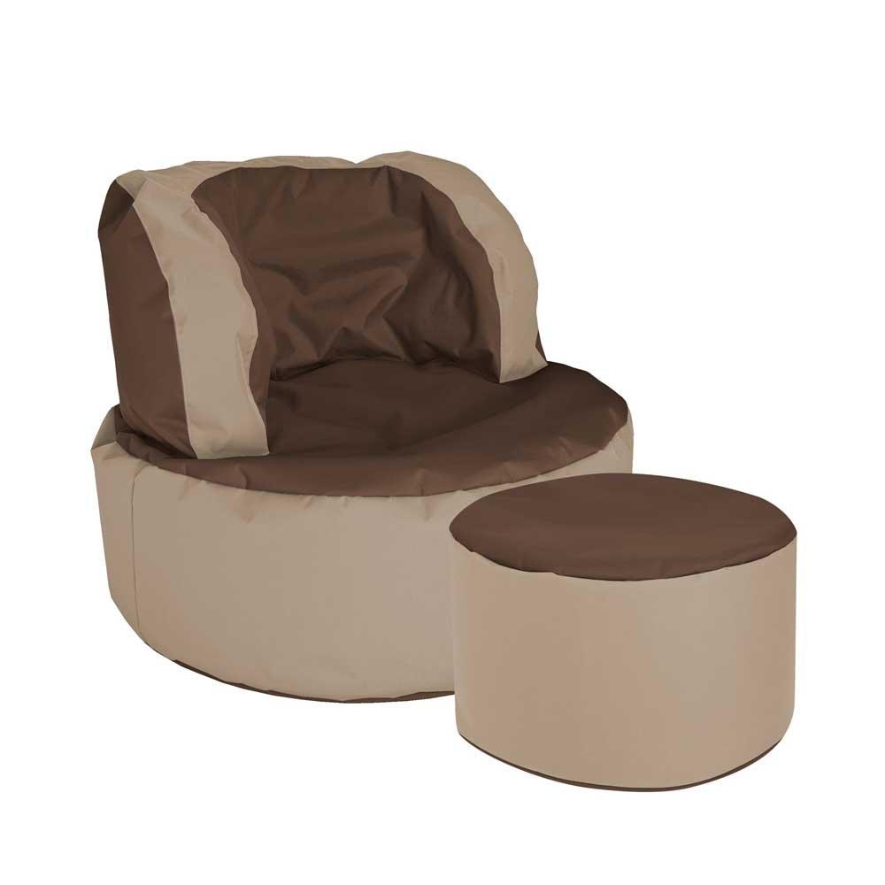 Pharao24 Sessel Sitzsack in Braun Beige Fußhocker Tiefe 135 cm mit Fußhocker Ja