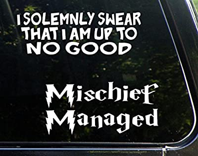 """Harry Potter Gift Set - 2 Decals- I solemely Swear I Am Up To No Good & Mischief Managed (9"""" x 3"""" 8"""" x 4"""") Funny Die Cut Decal Made For Any Hard Surface"""