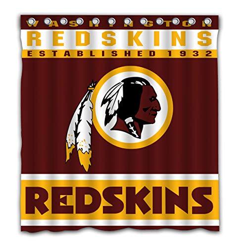 Potteroy Washington Redskins Team Design Shower Curtain Waterproof Polyester Fabric 66x72 -