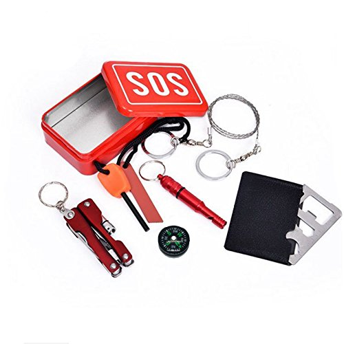 Emergency Box 6 PCs Gear Survival Mini Tools set SOS Checklist Camping Equipment Necessary Kit For Adventure, Camping, Fishing, Outdoor Activities, Emergency roadside tools etc. BBS-A72 by MOJIWING