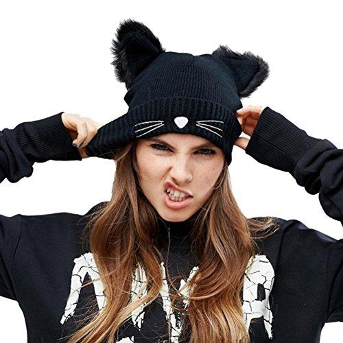 NW 1776 Women's Hat Cat Ear Crochet Braided Knit Caps Warm Snowboarding Winter (Black) (Crochet Cat Hat)
