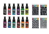 Dyan Reaveley's Dylusions Stencils 4 Pack With Shimmer Sprays 12 Pack