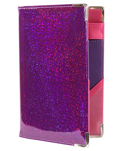 Of Course Holographic Glitter Server Book for Waitress and Waiter Zipper Pocket 8x5 Organizer Wallet | 10 Money Pockets | Original 2 Tone Interior | Cute Fits Aprons (Sparkling Wine)