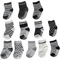 SuPoo 12 Pairs Baby Socks Non Skid Baby Cotton Socks Soft Anti-Slip Socks Baby...