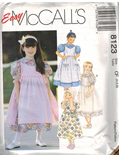 Girls Pinafore Pattern - 8123 McCalls Sewing Pattern Uncut Girls Dress Pinafore Size 6 7 8