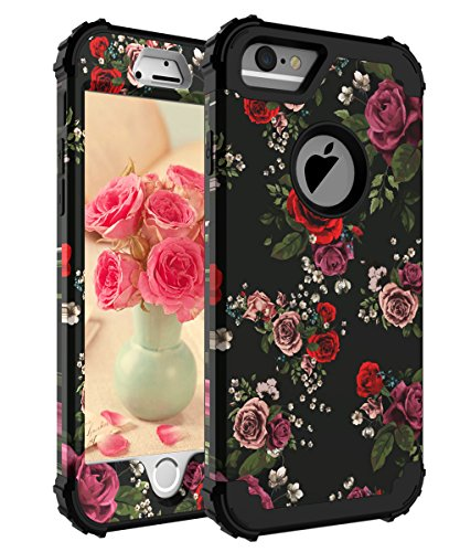 KaSoul Case for iPhone 6 Case fpr iPhone 6S Pretty Flowers Hybrid Enhanced Shock Resistant 3 in 1 Cover Red and Purple Rose for Girls/Women,Floral Black