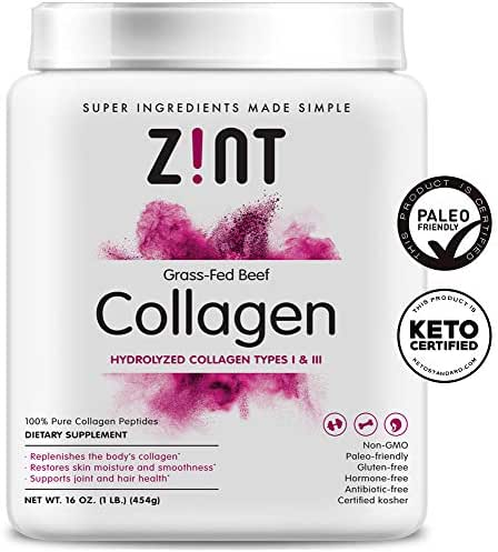 Zint Collagen Peptides Powder (16 Ounce): Anti Aging Hydrolyzed Collagen Protein Powder Beauty Supplement - Skin, Hair, Nails