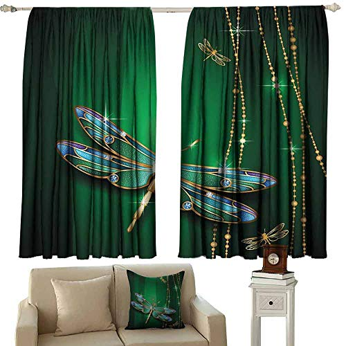 DUCKIL Room Darkening Wide Curtains Dragonfly Elegance Vivid Figures in Gemstone Crystal Diamond Featured Artsy Effects Thermal Insulated Tie Up Curtain W55 xL63 Gold Hunter -