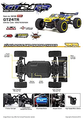 CARISMA GT24TR (Yellow) RTR 1/24th Brushless 4WD Radio Control Truggy with LiPo Battery