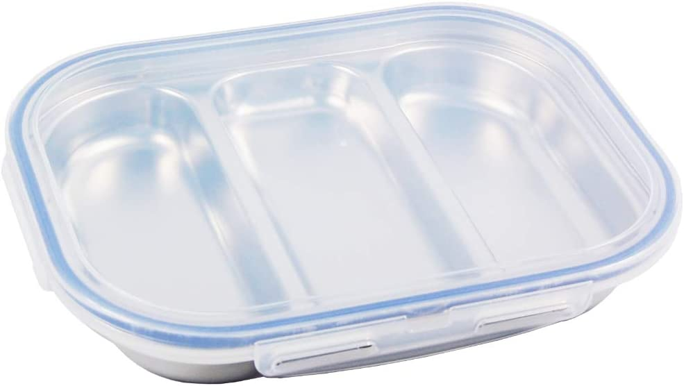 SU Company Stainless Steel Divided Tray Divided Plate Snack Plate Diet Food Control Tray 3 Compartment Food Tray with Lid(Navy Color)