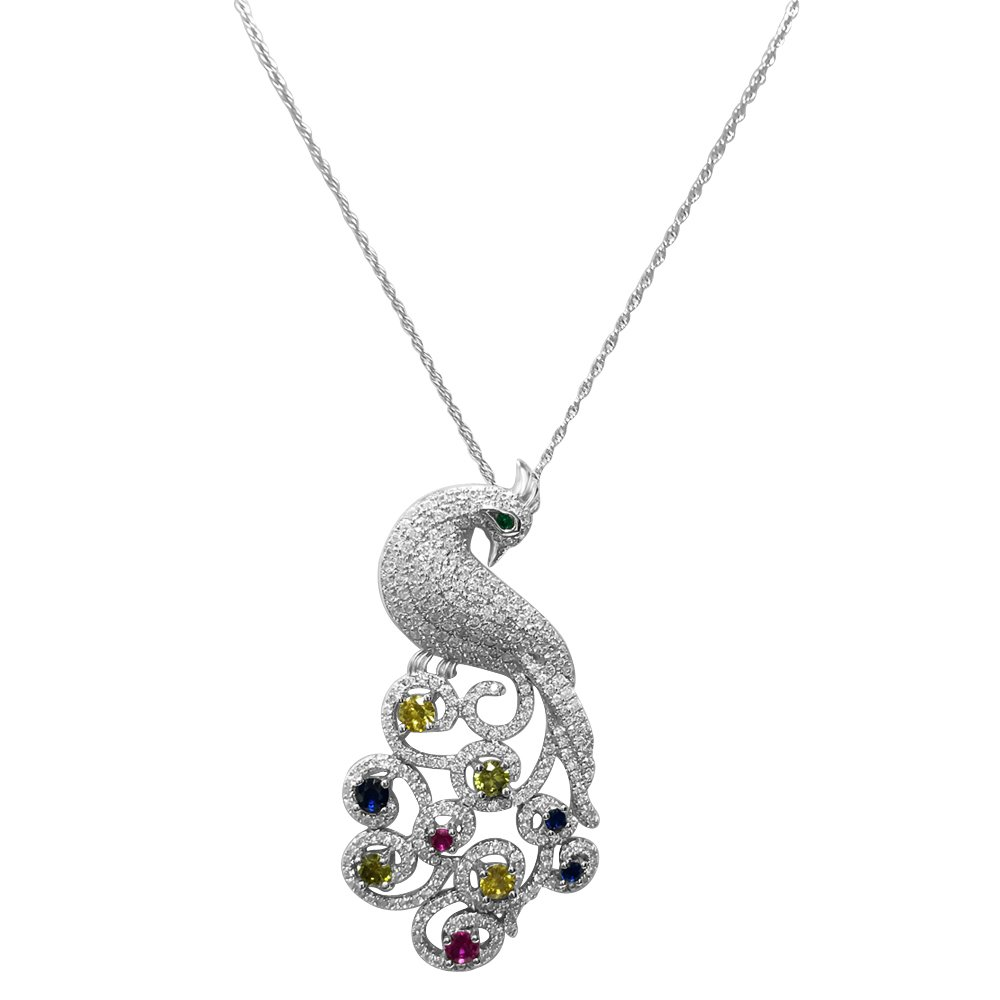 Peacock Necklace and Earring Set on Sterling Silver with Cubic Zirconia - 18'' Chain Included
