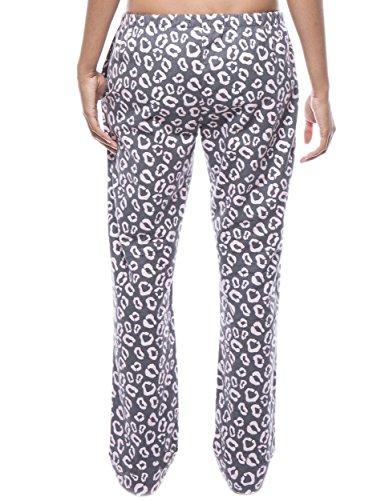 Twin Boat Pantalón Pijama de Franela de Algodón para Mujer Jaguar Gris/Rosa
