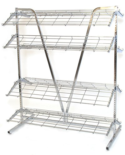 KC Store Fixtures 28620 Shoe Rack, 2-Sided, 4' Wide x 66'' High and Includes 8'-12' Deep Shelves, Chrome by KCF