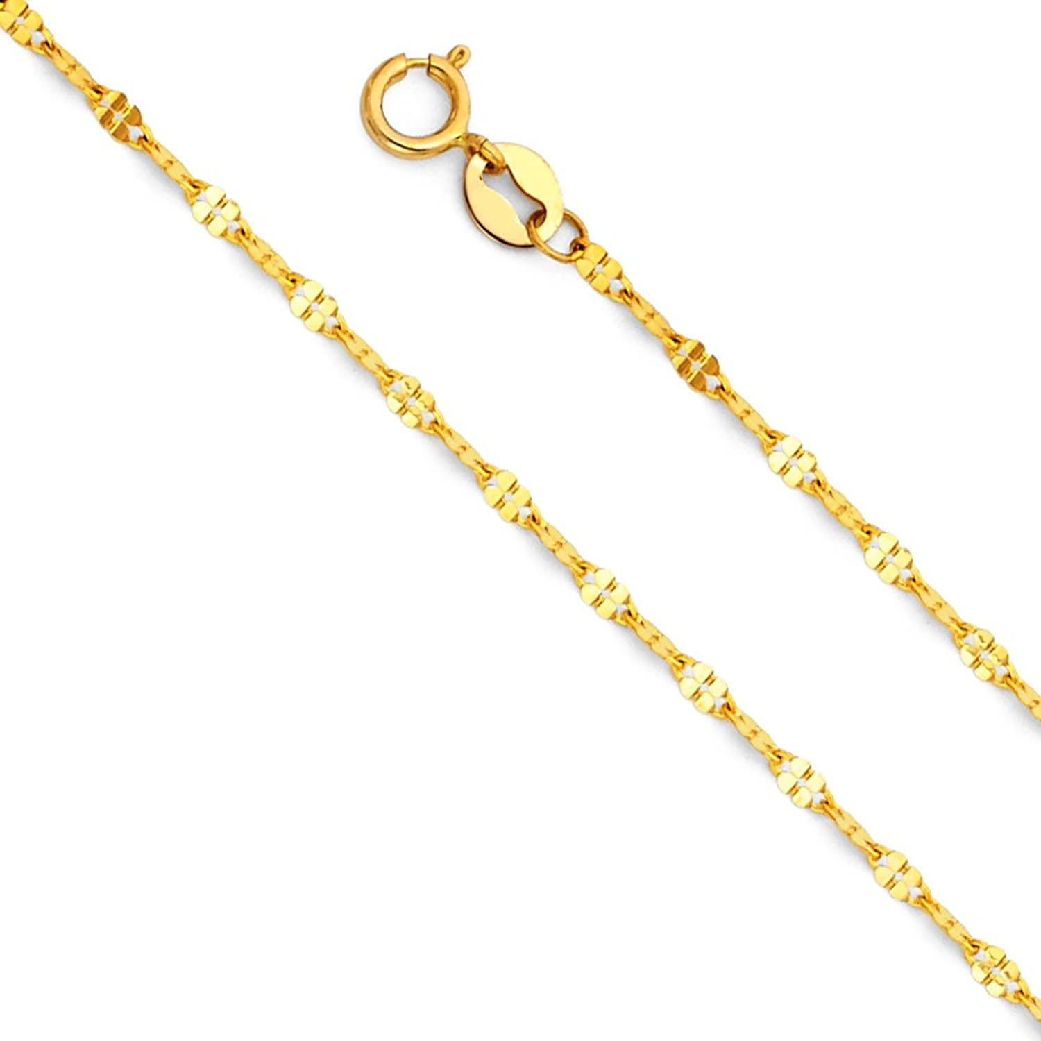 14k Yellow OR White Gold SOLID 1.5mm Twisted Mirror Chain Necklace with Spring Ring Clasp