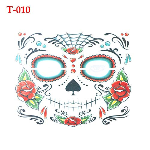 Generic Day of The Dead Skull Face dress up Temporary Tattoo Stickers Pop Halloween Party Facial makeup Special Waterproof Face tattoos T-010 ()
