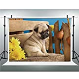 Photography Backdrop,Pug,for Studio Prop Photo Background,10x20ft,Adorable Puppy Photography with Sad Dog and Wildflowers on a Park Bench