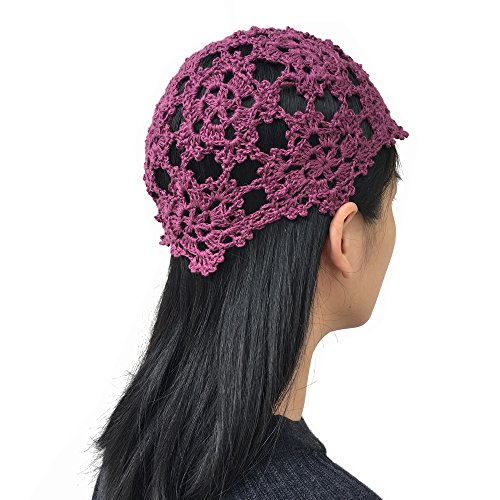 - MARZE Womens Hand Knitted Crochet Skull Cap Hollow Out Knit Hats Girls Flower Knitting Beanie Hat (purple)