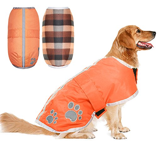 - PUPTECK Reversible Dog Winter Clothes Waterproof Reflective Cold Weather Jacket Medium Orange