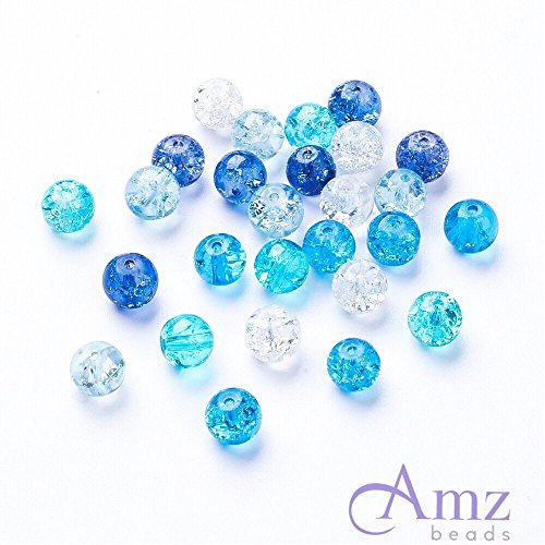 AMZ Beads - 4mm Mixed Assorted Colors Crackle Czech Glass Beads - Pack of 400 beads (Ocean Mix) (Glass Bead Mix)