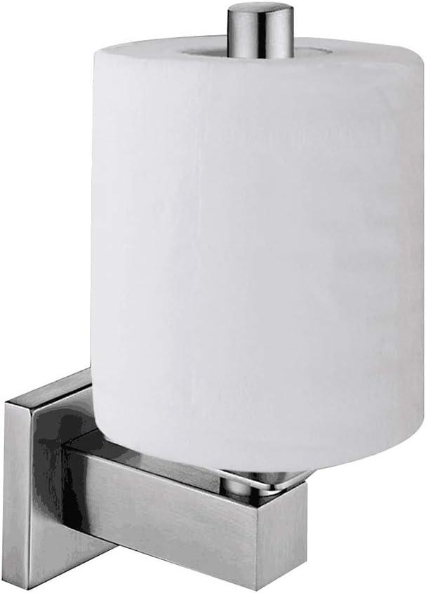 Lolypot Portarrollos de papel higiénico vertical cepillado para papel higiénico de acero inoxidable 304, soporte de pared para papel higiénico para baño y cocina (cepillado, montaje en pared)