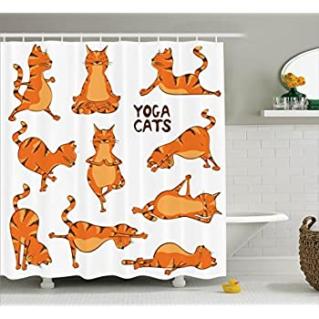 Ambesonne Cat Lover Decor Collection, Cats Doing Yoga Position Exercise Fitness Stretch Gymnastics Healthy Lifestyle Humor, Polyester Fabric Bathroom Shower Curtain Set with Hooks, Orange White