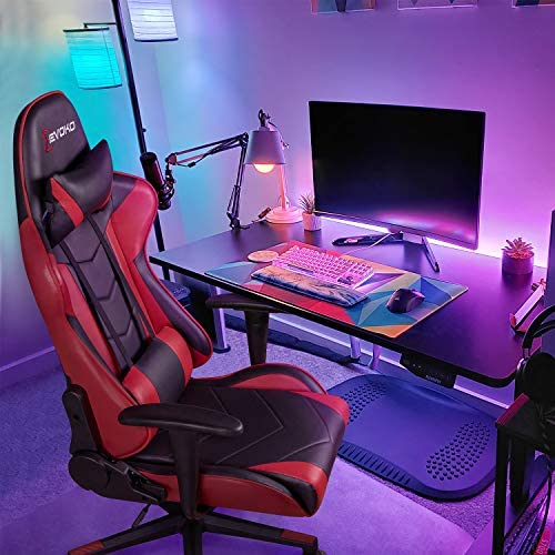 Devoko Ergonomic Gaming Chair Racing Style Adjustable Height High-Back PC Computer Chair with Headrest and Lumbar Support Executive Office Chair (Red) 51rgAzQ 2BU9L
