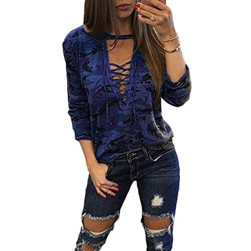 Col Aelegant Manches Longues Camouflage Ajuste Lacets Sexy Femmes Violet Maxi Couleur Shirt Bleu V T Profond YUrYnx