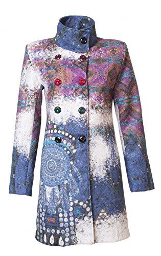 Trs Beau Femme Luxe Manteau d'hiver Patchwork Trench 36?38?40?42?44?45?dans 12?Diffrents Designs Multicolor Blau
