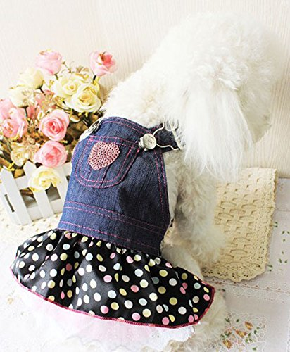 Image of Petparty Sweet Heart Sequins Denim Dog Dress Dog Clothes,M