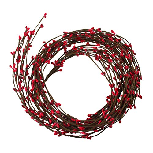 Masonicbuy 20 Pcs Red Pip Berry Garland Red Single Ply Bulk for Fall Christmas Berry Wreath Mantle Candle Country Primitive Floral Craft Indoor Outdoor Home Wedding Party Decor, 42 Feet (Berry Red)