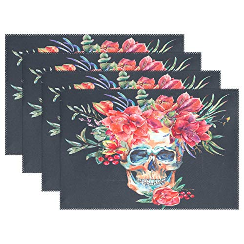 - LEFEI Watercolor Skull with Red Flower Amaryllis Non-Slip Heat Insulation Wrinkle Stain Resistant Washable Durable Placemat for Dining Table,Parties,Holidays