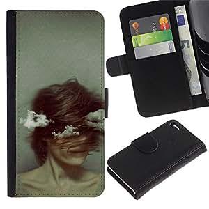 Billetera de Cuero Caso del tirón Titular de la tarjeta Carcasa Funda del zurriago para Apple Iphone 4 / 4S / Business Style Vintage Woman Spooky Grey