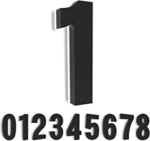 Homlux 8 Inch Upscale LED Modern House Number, Stainless Steel with Black Coating and Backlit House Number, Easy to Install, Rust&Corrosion Resistant, Luxury Illuminated Address Home Numbers(Black 1)