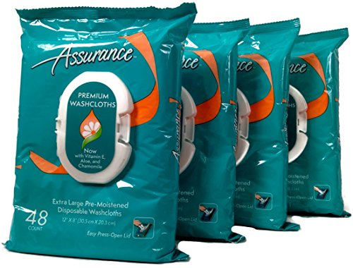 (Assurance Premium Pre-moistened Disposable Washcloths, Extra Large, 48ct, Multipack of 4 (192 Wipes Total))