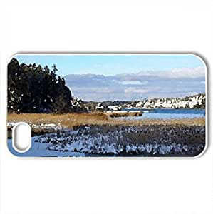 winter - Case Cover for iPhone 4 and 4s (Winter Series, Watercolor style, White)