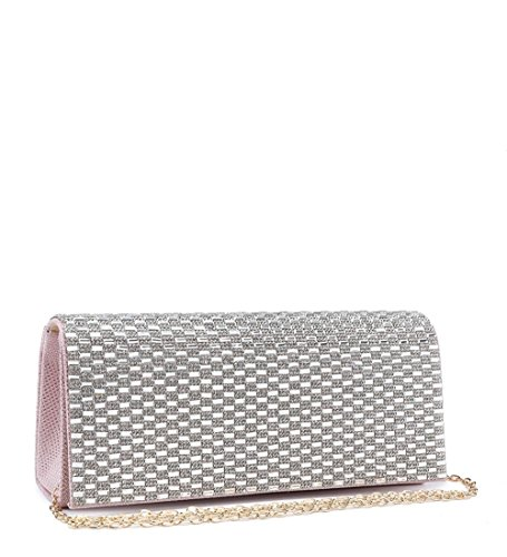 Craze London New Womens Wedding Party Sparkling Glitter Clutch Bags, Ladies Prom Party Silver Clutch bags with Diamante Pink
