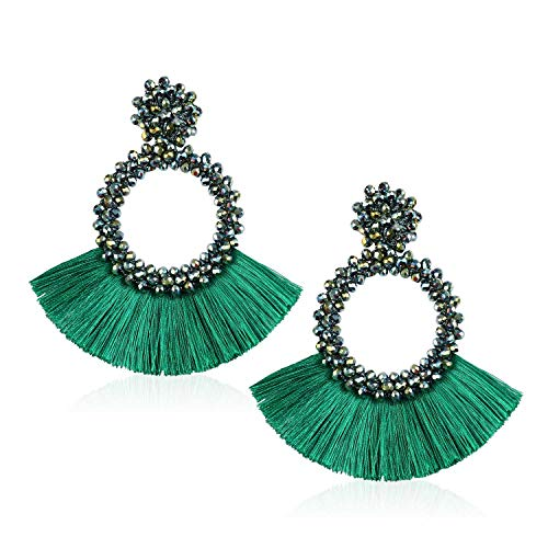 - Tassel Beads Statement Hoop Earrings for Women Handmade Drop Dangle for Daily Wedding Party With Gift Box HLE130 Green
