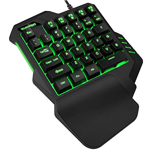 TESHIUCK One Handed Gaming Keyboard, RGB Led Backlit USB Wired Mini Gaming keypad,with 35 Keyboards Portable Gamer Small…