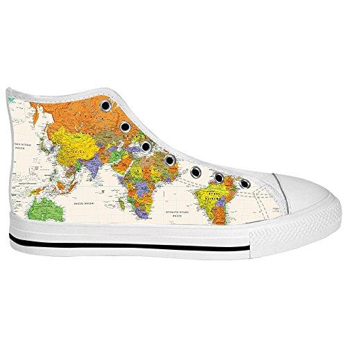 Custom Weltkarte Mens Canvas shoes Schuhe Lace-up High-top Sneakers Segeltuchschuhe Leinwand-Schuh-Turnschuhe C