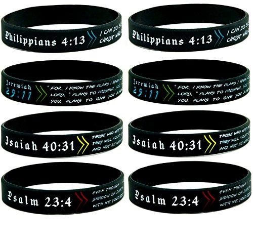 Christian Wristbands Bible Verses 8 Pack