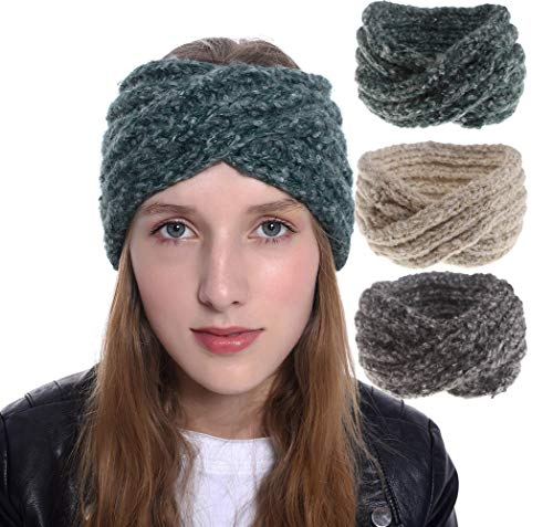 INOGIH 3 Pack Knit-Headband Mohair Winter Ear-Warmer Headwrap-Hairband