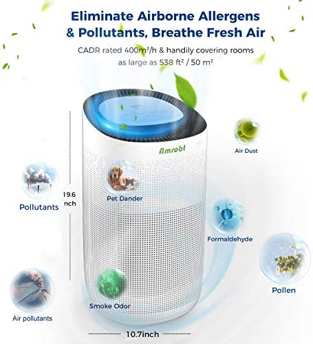 Amrobt Smart Wi-Fi Air Purifier for Home Large Room with True HEPA Filter.4-layer Filtration, Odor Eliminator for Allergies and Pets, Ionic & Sterilizer, Air Cleaner for Office & Home, Rid of Mold, Smoke, Odor. Works with Alexa 51rgDO7Z1SL